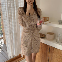 Dress Autumn 2020 Picture color S,M,L,XL Middle-skirt singleton  Long sleeves commute V-neck High waist Broken flowers zipper A-line skirt routine Others 25-29 years old Type A Korean version Pleating, printing Cellulose acetate