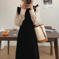 Dress Spring 2021 Shirt, dress S, M Mid length dress singleton  Sleeveless commute Crew neck High waist Solid color other A-line skirt shirt sleeve straps 18-24 years old Type A Korean version Cellulose acetate