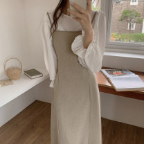 Dress Spring 2021 White shirt, khaki sling S,M,L,XL Mid length dress Two piece set Sleeveless commute Crew neck High waist Solid color zipper A-line skirt pagoda sleeve camisole 18-24 years old Type A Korean version Bow tie Cellulose acetate