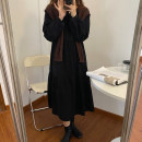 Dress Spring 2021 Apricot dress, yellow dress, black dress, apricot shawl, coffee shawl Average size longuette Two piece set Long sleeves commute Crew neck Loose waist Solid color zipper Big swing routine Others 18-24 years old Type A Korean version Cellulose acetate