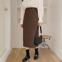 skirt Spring 2020 S,M,L,XL Beige shirt, coffee skirt Mid length dress Versatile High waist A-line skirt Solid color Type A Other / other Cellulose acetate