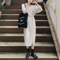 Dress Autumn 2020 Grey, camel, beige S,M,L longuette singleton  Long sleeves commute Polo collar Loose waist Solid color Single breasted A-line skirt shirt sleeve Others 18-24 years old Type A Korean version cotton