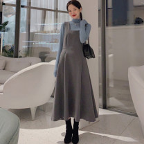 Dress Spring 2020 S. M, l, XL, one size fits all longuette Two piece set Sleeveless commute square neck High waist Solid color zipper Big swing other straps Type A Other / other Korean version Cellulose acetate