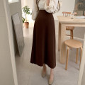 skirt Winter 2020 S,M,L,XL Khaki, coffee Mid length dress Versatile High waist A-line skirt Solid color Type A 18-24 years old cotton