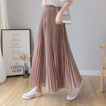 Casual pants Black [Summer ultra thin] lotus root pink [Summer ultra thin] blue [Summer ultra thin] S M L XL 3XL 4XL 5XL 6XL XXL Summer 2020 Ninth pants Wide leg pants High waist commute Thin money Sedothex Korean version Polyester 100% Pure e-commerce (online only)