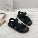 Sandals 35 36 37 38 39 40 Black green PU Miyada Barefoot Flat bottom Middle heel (3-5cm) Spring 2021 Velcro Korean version Solid color Adhesive shoes Youth (18-40 years old) rubber daily Back space Belt buckle Low Gang Hollow PU PU 2021-4-2-7 Fashion sandals Shaving Pure e-commerce (online only)