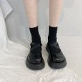Low top shoes 35 36 37 38 39 Miyada Matte light Round head PU Muffin bottom High heel (5-8cm) Shallow mouth cloth Spring 2021 Flat buckle Korean version Adhesive shoes Youth (18-40 years old) Solid color rubber Mary Jane shoes Muffin and belt buckle PU leisure time 2021-3-25-1 Face dressing