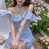 Dress Summer 2021 Picture color S M Short skirt singleton  Short sleeve commute One word collar High waist lattice Socket A-line skirt routine Oblique shoulder 18-24 years old Type A Qingqing leisurely Korean version Auricularia auricula with lotus leaf More than 95% other Other 100%