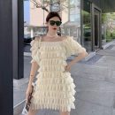 Dress Summer 2021 Black apricot Average size Middle-skirt singleton  Short sleeve commute One word collar Loose waist Solid color Socket Cake skirt routine Others 18-24 years old Type A Qingqing leisurely Korean version 9390# More than 95% other other New polyester fiber 100%