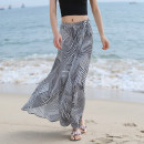 skirt Summer of 2018 S M L Black and white stripes longuette commute High waist Irregular stripe Type A 25-29 years old More than 95% Chiffon Autumn Narcissus polyester fiber Lace up Simplicity Polyester 100%