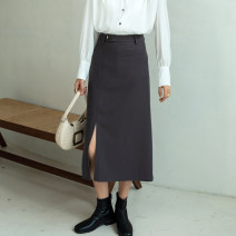 skirt Spring 2021 S M L XL Grey black longuette commute High waist A-line skirt Solid color Type A 25-29 years old 0082008 - two More than 95% other Autumn Narcissus polyester fiber zipper Ol style Polyester 98% polyurethane elastic fiber (spandex) 2% Exclusive payment of tmall