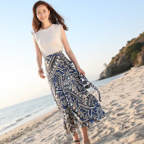 skirt Summer of 2018 S M L Picture color longuette fresh High waist Irregular Abstract pattern Type A 18-24 years old More than 95% Chiffon Autumn Narcissus polyester fiber Frenulum Polyester 100%
