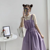 Dress Summer 2021 Two piece set [purple skirt + Lapel T-shirt] two piece set [pink skirt + stripe T-shirt] two piece set [pink skirt + white T-shirt] S M L XL Mid length dress Two piece set Short sleeve commute square neck High waist Solid color Socket A-line skirt other straps 18-24 years old other