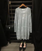 Dress Summer 2021 Grey, black, pink Loose one size fits all Short skirt singleton  Long sleeves commute V-neck Loose waist Solid color Socket One pace skirt other Others 25-29 years old Type H lady Cut out, Sequin More than 95% other other