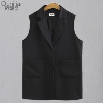 Vest Autumn 2020 black 2X 3x 4x 5x choose according to size chart Medium length tailored collar commute Solid color Single breasted opr2351551 other 25-29 years old Ou Ni Lian 91% (inclusive) - 95% (inclusive) polyester fiber pocket Other polyester 95% 5% Pure e-commerce (online only)
