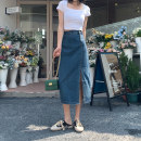 skirt Spring 2021 XS S M L XL Dark blue light blue longuette commute High waist A-line skirt Solid color Type A 18-24 years old 91% (inclusive) - 95% (inclusive) Denim Xiao Chun cotton pocket Retro Cotton 92.7% polyester 6.2% viscose 1.1% Pure e-commerce (online only)