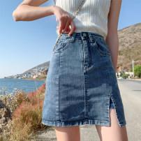 skirt Summer 2020 S M L XL XS Blue trouser skirt Short skirt Versatile High waist A-line skirt Solid color Type A 18-24 years old nzq More than 95% Denim Xiao Chun cotton Hole cut out chain, ear pocket, button and zipper Cotton 98% other 2%