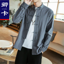 shirt other Chinka M L XL 3XL XXL 4XL 5XL routine stand collar Long sleeves easy Other leisure Four seasons middle age Cotton 100% Chinese style 2018 Spring of 2018 cotton Pure e-commerce (online only) More than 95%