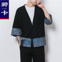 Jacket Chinka Youth fashion Black Navy M L XL 3XL XXL 4XL easy Other leisure Cotton 70% flax 30% three quarter sleeve Wear out Chinese style Summer of 2018 Pure e-commerce (online only) cotton 70% (inclusive) - 79% (inclusive)