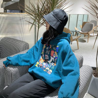 Sweater / sweater Winter of 2019 Blue yellow orange apricot M L XL Long sleeves have cash less than that is registered in the accounts Socket singleton  Plush Hood Bat type commute Bat sleeve Cartoon animation 18-24 years old Spinning cool Retro Poto Poto