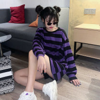 T-shirt Purple black stripe [cotton] blue black stripe [cotton] yellow black stripe [cotton] black and white stripe [cotton] M L XL XXL Autumn 2020 Long sleeves Crew neck easy Medium length puff sleeve street polyester fiber 51% (inclusive) - 70% (inclusive) 18-24 years old youth Spinning cool