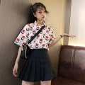 Fashion suit Summer 2020 S M L XL XXL [suit] floral shirt + BLACK PLEATED SKIRT [single piece] floral shirt [single piece] BLACK PLEATED SKIRT [with lining] 18-25 years old Spinning cool 2020.04.03 96% and above Polyester 100%