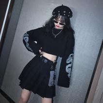 skirt Autumn 2020 S M L XL XXL [single piece] black sweater [Terry Cotton] [single piece] BLACK PLEATED SKIRT [belt + waist bag] Short skirt High waist Type A 2020.08.16 Spinning cool