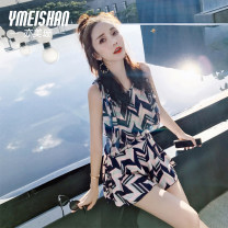 one piece  Yi Meishan S M L XL XXL Navy blue print - conservative one-piece swimsuit + gathered bra a cup swimsuit + gathered bra B cup swimsuit + gathered bra c cup Skirt one piece With chest pad without steel support Spandex polyester YMS188310 Spring 2021 no female Sleeveless Casual swimsuit
