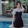 one piece  Yi Meishan M L XL Classic black One piece flat corner swimsuit With chest pad without steel support Spandex others YMS218157 Summer 2021 no female Short sleeve Casual swimsuit