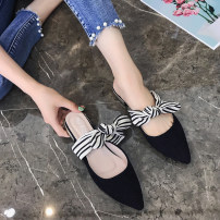 slipper three hundred and fifty-three billion six hundred and thirty-seven million three hundred and eighty-three thousand nine hundred and forty Shuairou (clothing) Black apricot Thick heel Low heel (1-3cm) Suede Summer of 2018 rubber daily Korean version Adhesive shoes Youth (18-40 years old) bow