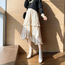 skirt Spring 2021 S. M, l, XL, one size fits all Apricot, black Mid length dress commute High waist Cake skirt Solid color Type A 25-29 years old 31% (inclusive) - 50% (inclusive) Other / other Ruffles, folds lady