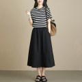 skirt Spring 2021 Elastic waist (skirt piece) Khaki black Short skirt commute High waist A-line skirt Type A More than 95% Su Gu cotton Ol style Cotton 97.2% other 2.8%