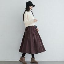 skirt Winter of 2019 Elastic waist (skirt piece) Red brown black Mid length dress commute High waist A-line skirt Type A Plain s252 fold pocket Corduroy Skirt More than 95% Su Gu cotton Retro Cotton 97% other 3%