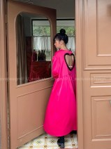Dress Spring 2021 Rose red, black One size fits all (3-day delivery from stock), one size fits all (single delivery) Mid length dress singleton  Long sleeves Sweet square neck Loose waist Solid color Socket other puff sleeve Others 18-24 years old Type H Other / other CL0308 other Ruili