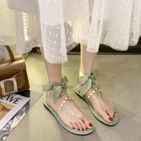 Sandals 35 36 37 38 39 40 Beige light green PU Zhenduo Poetry Barefoot Flat bottom Low heel (1-3cm) Summer 2021 Frenulum Korean version Solid color Adhesive shoes Youth (18-40 years old) rubber daily Rear trip strap Cross strap ribbon bow Beaded metal decoration Low Gang Lateral space PU Z142640