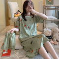 Nightdress Yan you M L XL XXL Sweet Short sleeve pajamas Middle-skirt summer Cartoon animation youth Crew neck cotton printing More than 95% pure cotton A508 Spring 2020 Cotton 100% Pure e-commerce (online only)