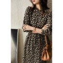 Dress Winter 2020 Black print S M L XL Mid length dress singleton  Long sleeves commute other middle-waisted other Single breasted other routine Others 30-34 years old Xhange / Xiaohan Pavilion Ol style Button print with tie stitching in auricular pocket QZR380592AG More than 95% polyester fiber