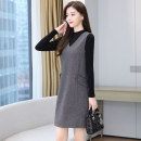 Dress Winter 2020 One skirt two piece set M L XL 2XL 3XL Mid length dress Two piece set Long sleeves commute V-neck middle-waisted Solid color Socket other routine straps 25-29 years old Type H Xincaixing Korean version zipper XCX20CL7761#$30 More than 95% polyester fiber Polyester 100%