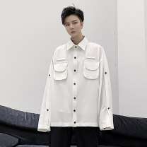 shirt Youth fashion Others M,L,XL,2XL white routine square neck Long sleeves easy Other leisure Four seasons youth Polyethylene terephthalate (PET) 97% polyurethane elastic fiber (spandex) 3% tide 2021 Solid color