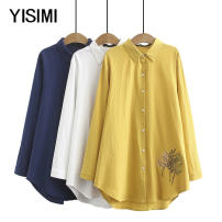 Middle aged and old women's wear Autumn of 2019 White yellow Navy XL 2XL 3XL 4XL size is too large, please refer to the bust selection commute shirt easy singleton  Flower and bird pattern Cardigan thin Medium length shirt sleeve Y19256 Isimi Embroidery other Other 100% 96% and above Long sleeves