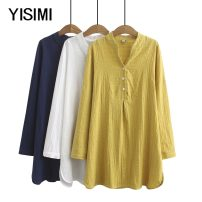 Middle aged and old women's wear Autumn of 2019 White yellow Navy XL 2XL 3XL 4XL size is too large, please refer to the bust selection commute shirt easy singleton  Solid color Cardigan thin V-neck Medium length routine Y19261 Isimi other Other 100% 96% and above Pure e-commerce (online only)