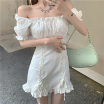 Dress Summer 2021 White, black S, M Short skirt singleton  Short sleeve commute One word collar High waist Solid color Socket One pace skirt routine Others 18-24 years old Type A Other / other Korean version 51% (inclusive) - 70% (inclusive) other