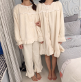 Pajamas / housewear set female Other / other Average size Suit 9832, nightdress 9831# other Long sleeves Sweet Living clothes winter thickening Crew neck Solid color trousers Socket youth 2 pieces rubber string More than 95% Middle-skirt
