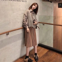 Fashion suit Autumn 2020 S M L XL Three piece Vest + shirt + skirt 18-25 years old Beauty without looking back wqeqw478sd Polyester 45% other 55% Pure e-commerce (online only)