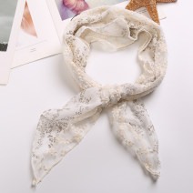 Scarf / silk scarf / Shawl cotton Beige Khaki cyan Spring and summer female Shawl decorate Korean version other Student youth Plants and flowers Lace 56cm 90cm Less than 30% Fragrant silk into the cabinet FK Floral Lace triangle towel Spring 2021 no