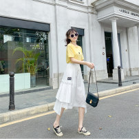 skirt Summer 2021 Average size White black Mid length dress Versatile High waist Irregular Solid color Type A 18-24 years old More than 95% other Love for Immortals other Asymmetric pocket of Auricularia auricula Other 100% Pure e-commerce (online only)