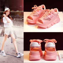 Sandals thirty-four trillion and three hundred and fifty-three billion six hundred and thirty-seven million three hundred and eighty-three thousand nine hundred and forty Pink white Ji Bu Superfine fiber Fish mouth Flat bottom Middle heel (3-5cm) Summer of 2018 Frenulum Korean version Solid color PU
