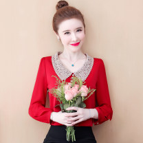 Lace / Chiffon Spring 2021 Red, green, black [skirt] S,M,L,XL,2XL Long sleeves commute Socket singleton  easy Regular Doll Collar Decor routine 25-29 years old Other / other Bows, ruffles, pleats, prints, stitches, bandages Korean version 96% and above