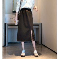 skirt Spring 2021 M L Black Brown Mid length dress Versatile High waist A-line skirt Solid color Type A 18-24 years old AK-4-139B-9915-4 51% (inclusive) - 70% (inclusive) other Amiluck polyester fiber zipper Polyester 65% polyacrylonitrile 35% Pure e-commerce (online only)