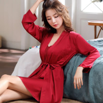 Nightgown / bathrobe Zipinhongyi female M L XL XXL Thin money sexy Polyester (polyester) summer More than 95% Short (Mid Thigh to knee) silk Solid color youth Embroidery 200g and below Summer of 2019 Polyethylene terephthalate (PET) 95% polyurethane elastic fiber (spandex) 5% no